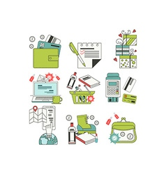 Flat icons for online shopping vector