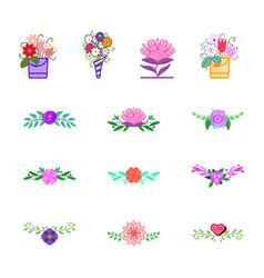 flowers decorative design elements for vector image
