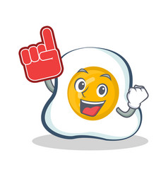 Foam finger fried egg character cartoon vector