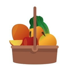 Fruit basket icon vector