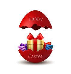 gift box happy easter egg surprise broken red vector image