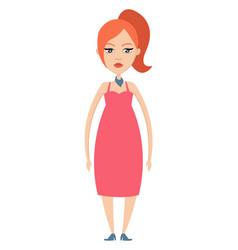 ginger girl on white background vector image