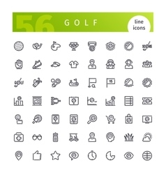 Golf Line Icons Set vector image