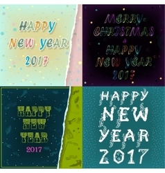 Greeting cards with texts Happy New Year 2017 vector