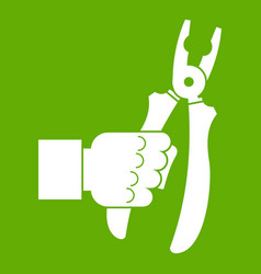 hand holding chisel icon green vector image