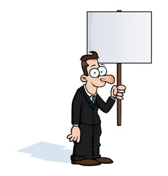 Happy business man with protest sign vector image