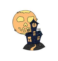 Happy halloween color icon moon graveyard vector