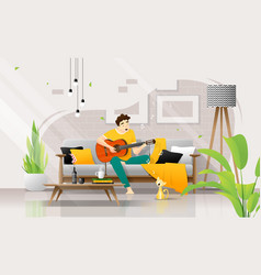 Happy young man playing guitar on sofa in living vector