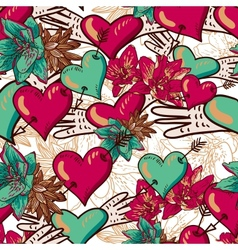 Hearts and Flowers Seamless Background vector image