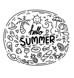 hello summer collection funny vector image