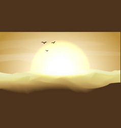 Hot yellow and orange empty desert panoramic vector