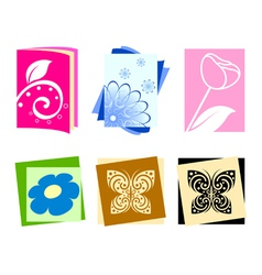 Icons with flowers and butterflies vector image