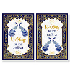 indian wedding invitation card with blue vector image