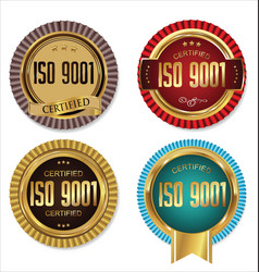 iso 9001 certified golden labels collection vector image