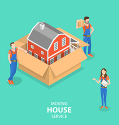 Isometric flat concept house moving and vector