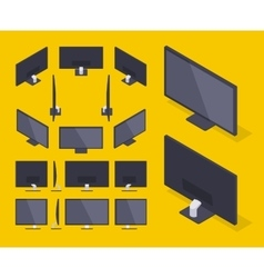 Isometric hd monitor vector