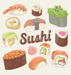 japanese food hand drawn doodle sushi vector image
