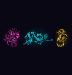 Japanese neon dragon mythological animal or asian vector