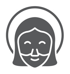Jesus glyph icon portrait and christ god sign vector
