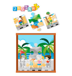 jigsaw puzzle game with children walking vector image