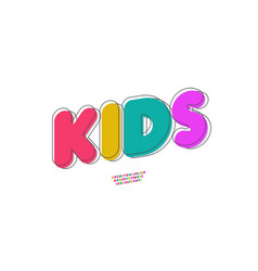 kids font 3d bold doodle style vector image