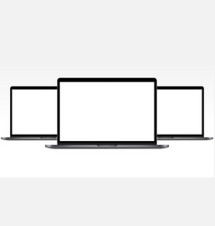laptops with blank screens vector image