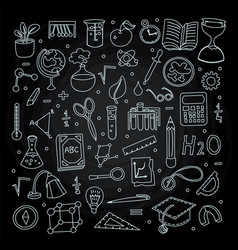 lined back to school supplies elements and vector image