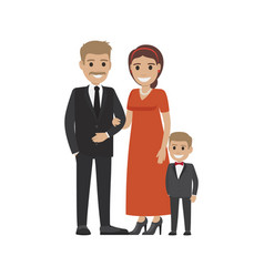 Married couple in expensive cloth and little son vector