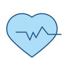 medical heartbeat pulse rhythm line fill blue icon vector image