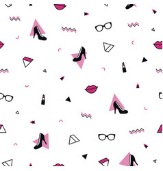 memphis pattern with black high heel shoes pink vector image