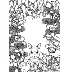 Merry christmas pattern with rabbit vector