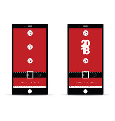 Mobile phone with happy new year 2018 on it vector