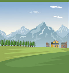 Mountain landscape valley poster with forest and vector