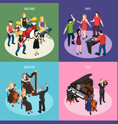 musicians isometric design concept vector image