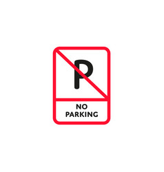 No parking zone roadsign isolated vector