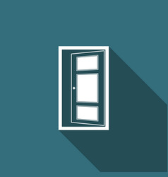open door icon isolated with long shadow vector image