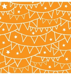 Orange Party Bunting Seamless Pattern Background vector image