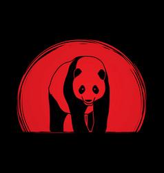 Panda standing cartoon logo vector
