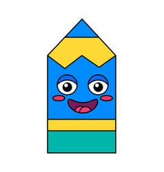 Pencil smiling face emoticon icon vector