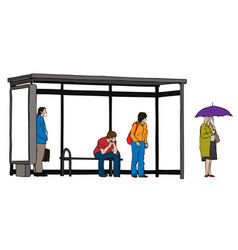 people wearing medical masks at bus stop vector image