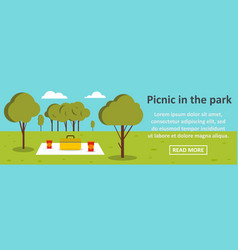 Picnic in the park banner horizontal concept vector