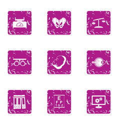 Ponder icons set grunge style vector