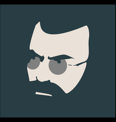 portrait of serious bearded man vector image