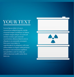 Radioactive waste in barrel flat icon on blue vector