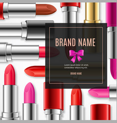 Realistic 3d lipstick advertizing banner card vector