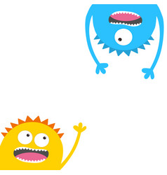 Screaming monster head silhouette set eyes teeth vector