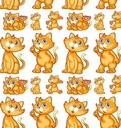 Seamless cute kitten in different posts vector image