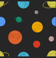 seamless pattern with colorful planets and other vector image