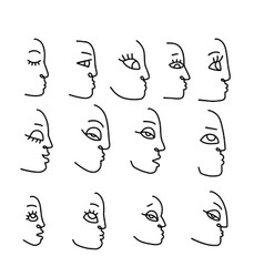 set hand drawn linear art woman faces vector image