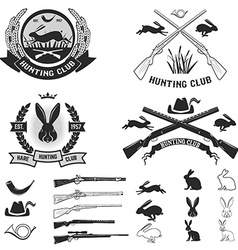 Set hare hunting club labels vector